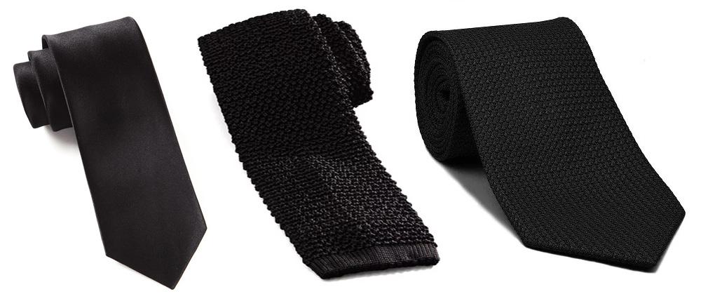 e68e2bb84f Balról jobbra: szatén, kötött, és grenadine szövésű nyakkendő.